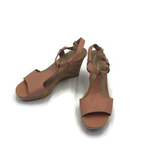 Franco Sarto Leather T-strap Corridor Cork Wedges